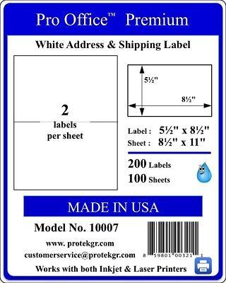 1000 Shipping Labels Self Adhesive Half Sheet 2 Per Sheet 5.5 X 8.5 Premium Usps