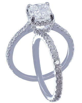 GIA I-SI1 18k Whtie Gold Cushion Cut Diamond Engagement Ring And Band 2.20ctw 6