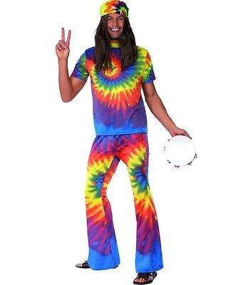 Mens 60s 1960s Tie Dye Hippy Fancy Dress Costume Men's Hippie Outfit by Smffys (Hippie Outfits For Men)