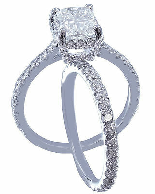 GIA I-SI1 18k Whtie Gold Cushion Cut Diamond Engagement Ring And Band 2.10ctw