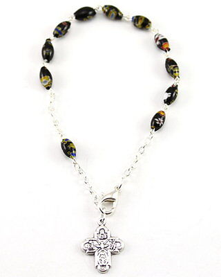 NEW ONE DECADE ROSARY BRACELET BLACK MURANO GLASS OVAL BEADS SILVER PLATED LINKS ()