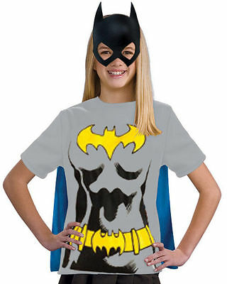 Batgirl Tee Shirt with Cape & Mask for Kids size Large New by Rubies 881345 - Batgirl Costume For Child