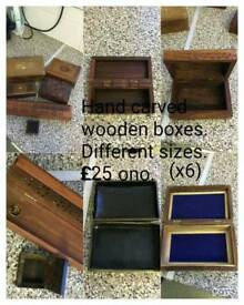 Hand carved wooden boxes