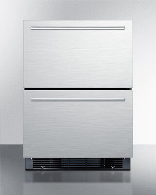 Summit Sprf2d5im 24  2 Drawer Refrigerator Freezer Ice Maker Stainless Steel
