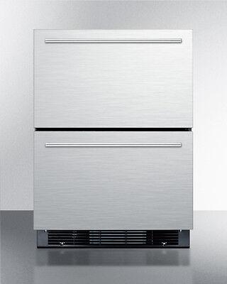 Summit Sprf2d5im 24  2 Drawer Refrigerator Freezer Ice Maker Stainless Steel