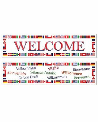 INTERNATIONAL WELCOME BANNERS PARTY DECORATIONS AUSTRALIA USA ITALY BANNER SIGNS (International Party Decorations)