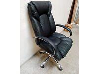 Habitat Leather Faced Ergonomic Office Chair - Black No020802