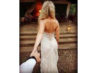 maggie sottero nola wedding dress gown size 8 Small Champagne with ivory lace backless