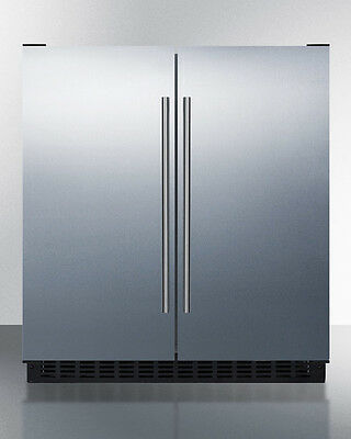 """Summit FFRF3070BSS 30"""" 5.4 CuFt French Door Refrigerator Freezer Stainless Steel"""