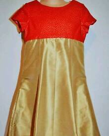 Red and gold party dress age 6 handmade