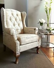 NEW HAMPTONS STYLE FRENCH SCRIPT BUTTON BACK BEIGE LINEN WING CHAIR!! Casuarina Kwinana Area Preview