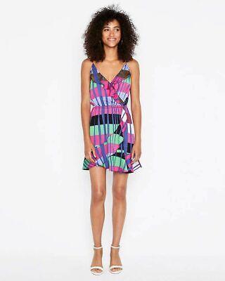 New Express Striped Ruffle Faux Wrap Cami Dress Size M Ruffle Faux Wrap