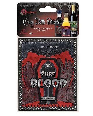 PKT OF 6 HALLOWEEN HORROR PARTY CREEPY WINE BOTTLE LABELS STICKERS VAMPIRE BLOOD - Blood Label Halloween