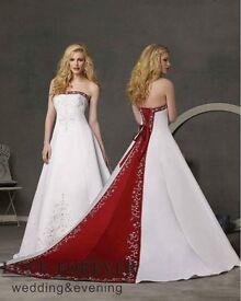Alfred Angelo White / Claret wedding dress size 12