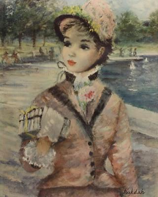 Jeffe Huldah 1950s Impressionist Fashionable Woman Central Park Lithograph #S454