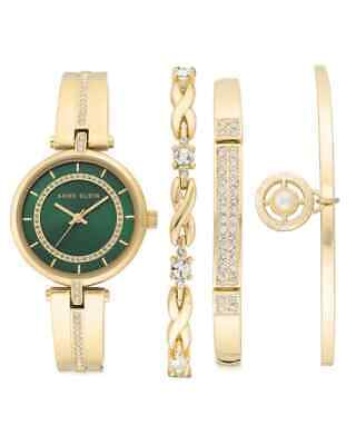 Anne Klein Geen Dial Quartz Ladies Watch Set AK/3426GNST