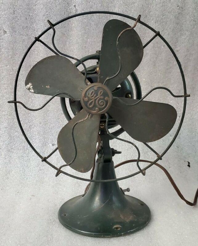 "Vintage GE 8"" Oscillating Tilting Fan Dark Green 42X528 Clacking Cord Replaced"