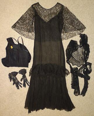 ANTIQUE Vintage 1930's FASHION COUTURE Silk Chiffon FINE BLACK LACE Dress / 5pcs