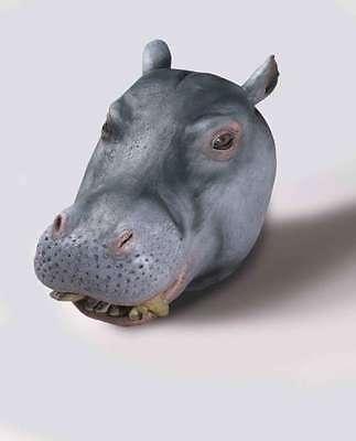 Hippopotamus Mask  Full Over The Head Grey Hippo Animal Costume - Hippo Mask