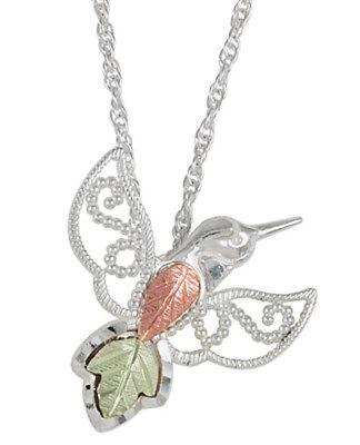 Black Hills Gold Hummingbird Pendant - Black Hills Gold on Sterling Silver Hummingbird Pendant Necklace