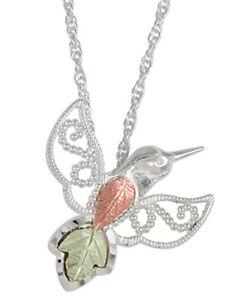 Black Hills Gold on Sterling Silver Hummingbird Pendant Necklace