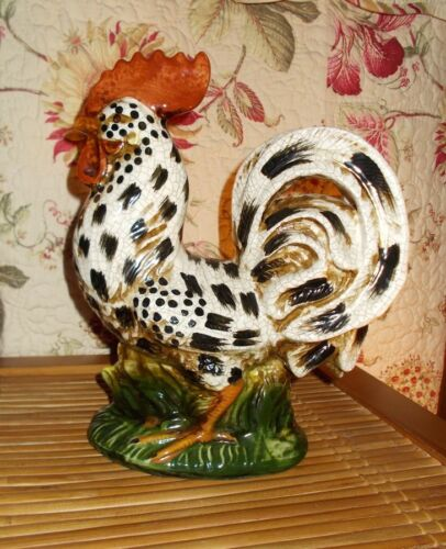 """Charming Posed Porcelain Rooster 13"""" Tall"""