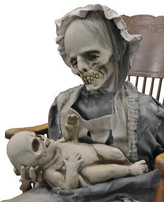 Life Size Deluxe Animated Sound-LULLABY ZOMBIE MOTHER BABY-Halloween Horror Prop - Halloween 2017 Live