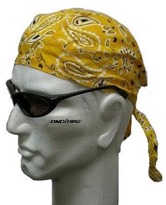 GOLD PAISLEY FITTED BANDANA w/TIES Tied DOO DO DU RAG Head Wrap Cap DOORAG - Gold Bandanas