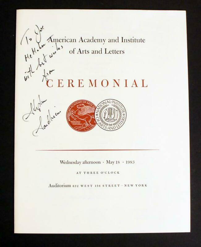 STEPHEN SONDHEIM SIGNED Autographed *Ceremonial Program* from 1983 with COA!