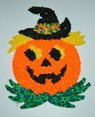 Halloween Pumpkin Jack O Lantern Melted Plastic Popcorn Decoration Fall Vintage