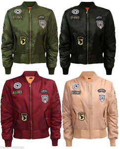 veste aviateur femme vintage bomber avec patch matelass ebay. Black Bedroom Furniture Sets. Home Design Ideas