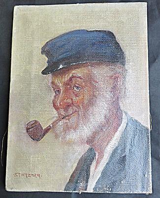 Seltenes altes Bild von STOITZNER. Herrenbildnis mit Pfeife. Öl/Leinwand