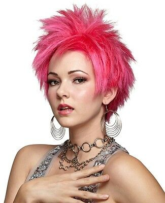 HOT PINK PURPLE WHITE BLUE VIVID SPIKEY PUNK ROCK SHORT WIG COSTUME MR177 - White Costume Wig