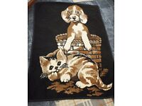 Puppy and kitten brown mock sheepskin throw - perfect condition.
