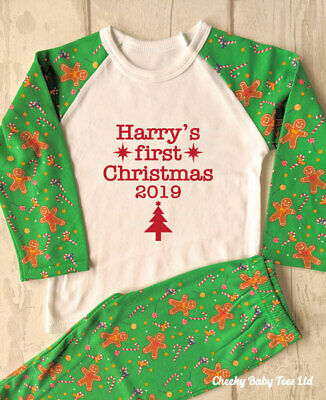 Personalised Baby's 1st First Christmas pyjamas PJs, age 1-2 yrs,Gingerbread man