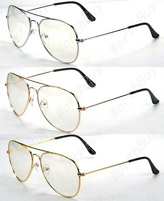 Nerd Sunglasses (Mens Womens Clear Lens Metal Frame Eye Glasses Fashion Eyewear Nerd Pilot)