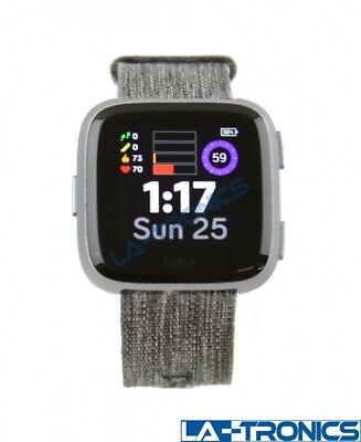 Fitbit Versa FB505BKGY Special Edition Charcoal w/ Woven Band - AS-IS