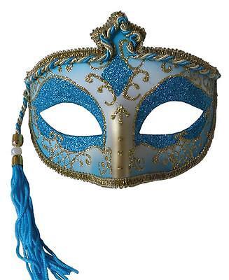 MARDI GRAS CARNIVAL FESTIVAL MASQUERADE BLUE MASK WITH TASSEL COSTUME MR031438