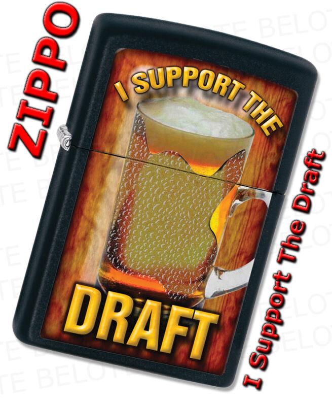 Zippo I Support The Draft Beer Black Matte Windproof Lighter 28294 **NEW**