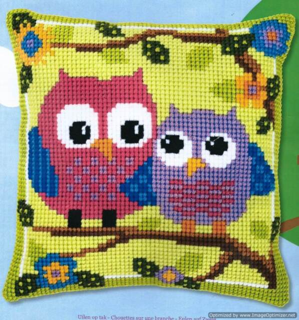 Vervaco Cross Stitch Cushion Front Kit - Owls On a Branch