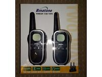 Binatone Terrain 750 Twin Long Range Two-Way Radios (Walkie Talkie) With 2 Handsets BOXED like new