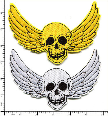 20 Pcs Embroidered Iron on patch Wing Skull Halloween 14.5x10cm - Halloween Iron Ons