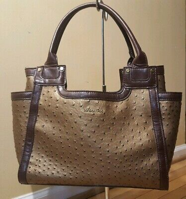 (NEW LONDON FOG Large Tote Faux Ostrich Sachel Removable Cross Body Strap Beige)