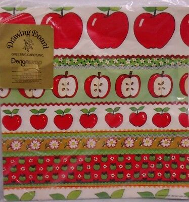 Apple Teacher Gift Wrap Drawing Board Greeting Wrapping Paper 2 Sheet 20x30 Vtg - Apple Gift Wrap