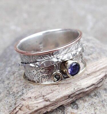 Amethyst 925 Sterling Silver Spinner Ring Meditation ring statement ring Size