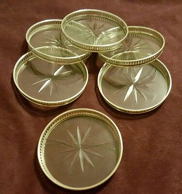 6 Antique Sterling Silver Coasters scrap or use