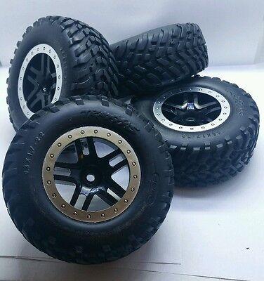NEW Traxxas Slash 2WD 4WD  VXL Mounted Tires Spec 12mm Black Spoke Wheels