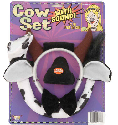 Cow Set Nose With Sound Chip Tail & Bow Tie Halloween Forum Novelties - Halloween Cow Ears