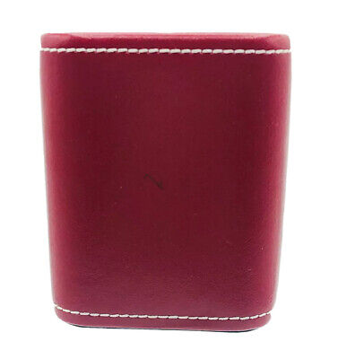 Classic Wolf Designs Red Leather Rounded Square Pencilpen Cup.