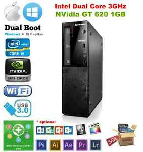 Lenovo Hackintosh E72 Intel 3GHz max 12GB 2TB, NVidia GT, MacPro Sierra Windows